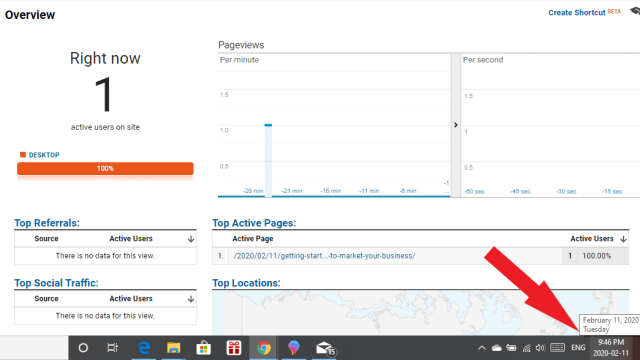 Realtime view of increased blog traffic from Pinterest