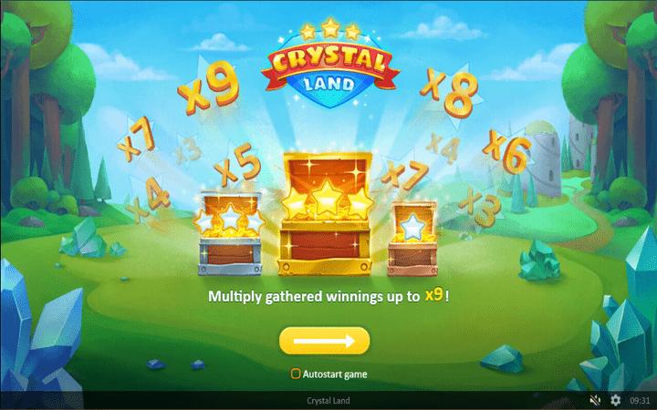 Crystal Land, Meridian online casino, slagalica, bonus