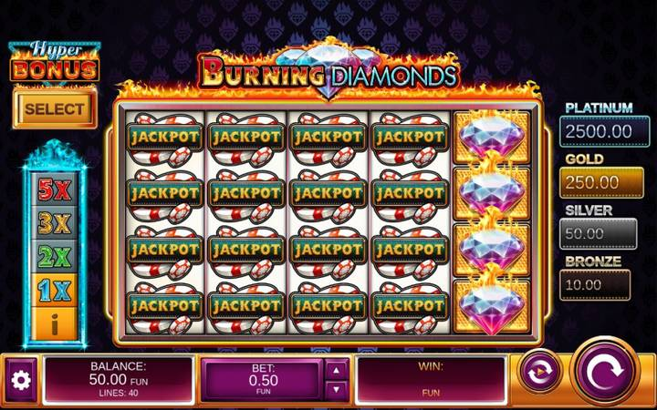 Burning Diamonds, online casino bonus, džekpot