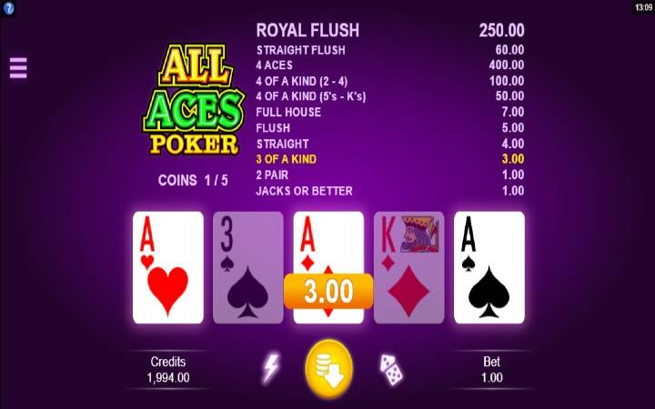 All Aces Poker, Online casino bonus