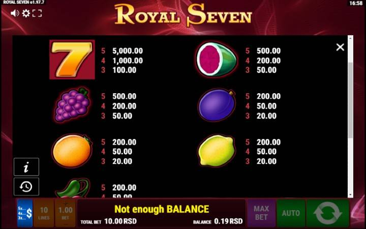 Royal Seven, Online Casino Bonus
