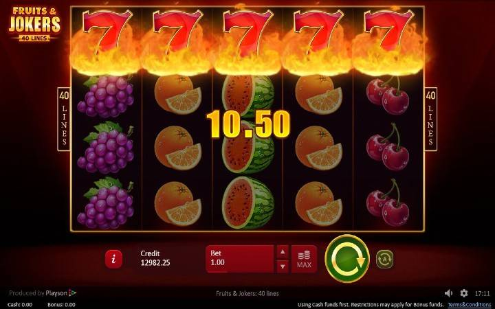 Fruits and Jokers 40 lines, Online casino bonus