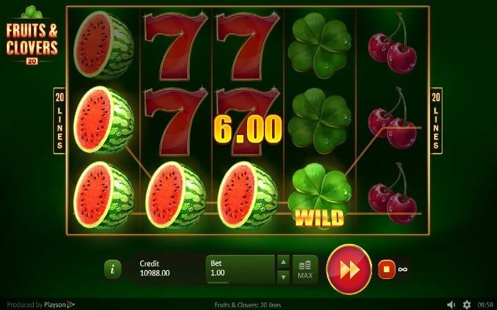 Fruits and Clovers: 20 lines, online casino bonus, balkan casino