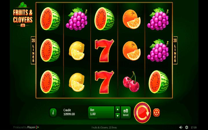 Fruits and Clovers: 20 lines, Online Casino Bonus