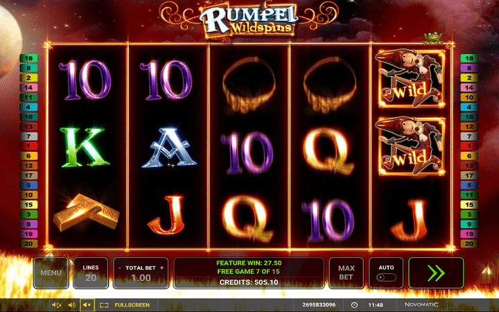 Rumpel Wildspins, Novomatic, Online Casino Bonus