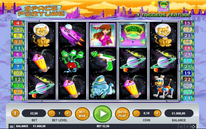 slot Space Fortune -  tabla slota -  simboli na tabli za igru