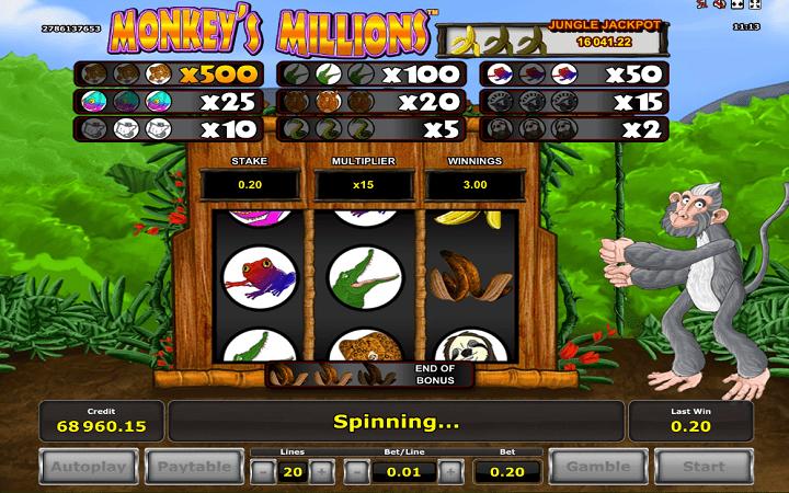 Monkey's Millions, Novomatic, Greentube, Online Casino Bonus