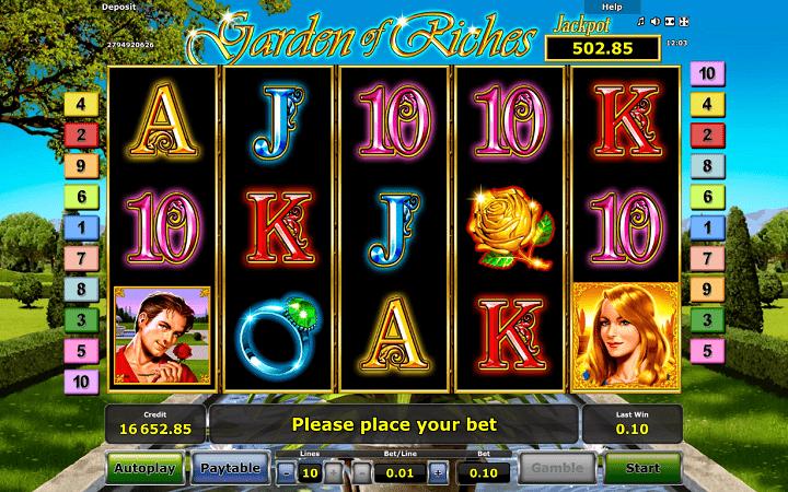 Garden of Riches, Novomatic, Greentube, Online Casino Bonus