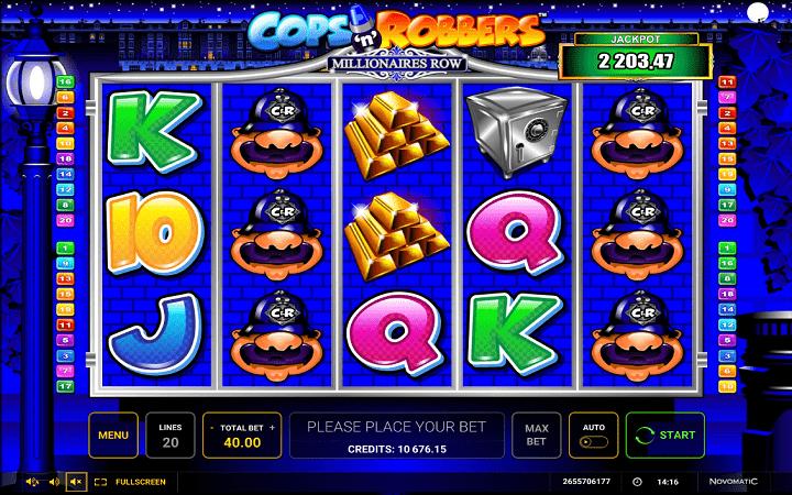 Cops and Robbers: Millionaires Row, Novomatic, Online Casino Bonus