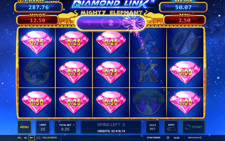 Diamond Link Mighty Elephant, Greentube, Novomatic, Online Casino Bonus