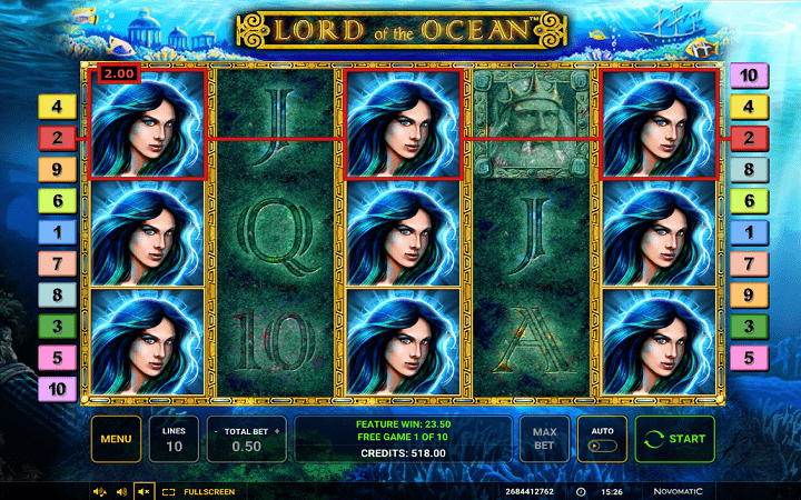 Lord of the Ocean, Novomatic, Greentube, Online Casino Bonus