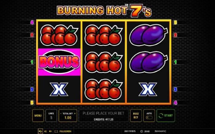 Burning Hot Sevens, Online Casino Bonus, Green Tube