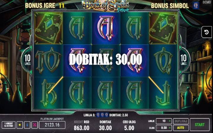 Besplatni spinovi, specijalan simbol, Online Casino Bonus, Book of Spells Deluxe