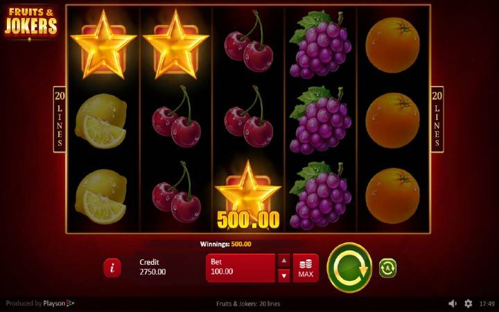 Online Casino Bonus, Scatter, Fruits and Jokers: 20 lines