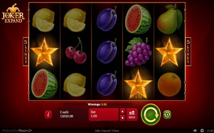 Scatter, Online Casino Bonus, Playson, Joker Expand: 5 lines