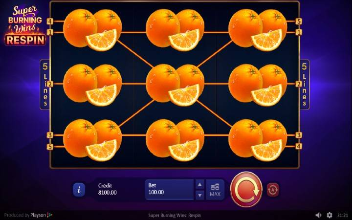 Online Casino Bonus, Super Burning Wins: Respin