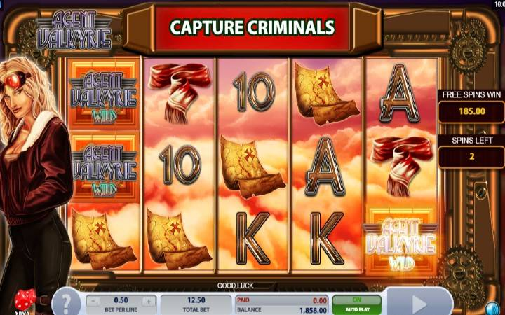 Capture Criminals, Flying Wilds, Online Casino Bonus, Agent Valkyrie