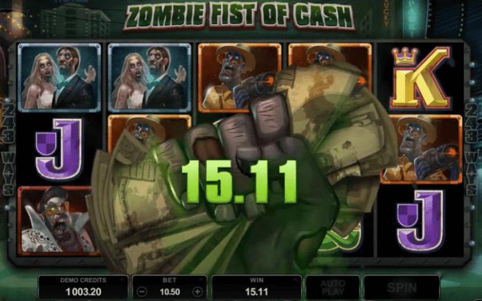 Lost Vegas slot-bonus funkcija Zombie Fist of Cash-množioci