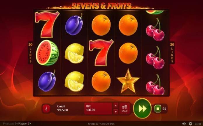 Sevens and Fruits: 20 lines, Online Casino Bonus, Playson