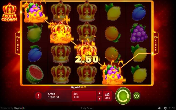 Džokeri, Online Casino Bonus, Playson, Fruity Crown