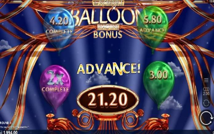 Pick a Balloon Bonus, Online Casino Bonus, The Incredible Balloon Machine