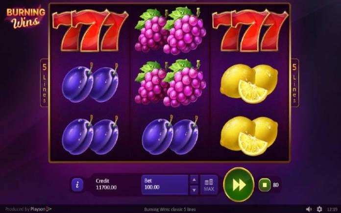 Burning Wins: Classic 5 Line, Online Casino Bonus, Playson