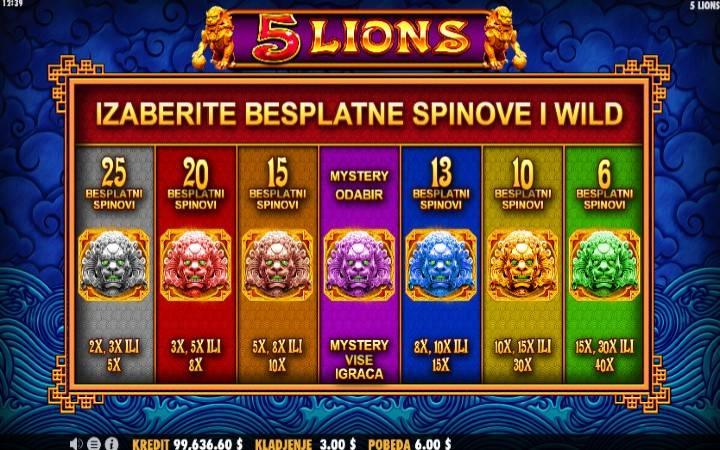 Besplatni Spinovi, Online Casino Bonus, 5 Lions