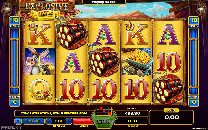Explosive Reels, GameArt, Online Casino Bonus