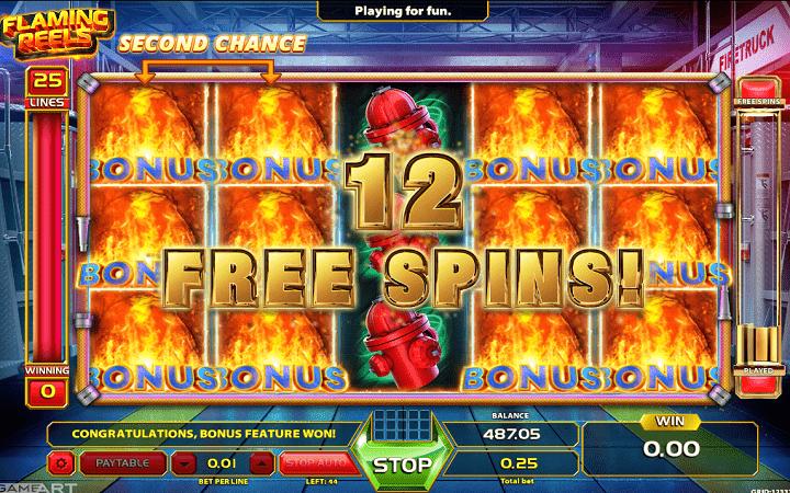 Flaming Reels, GameArt, Online Casino Bonus