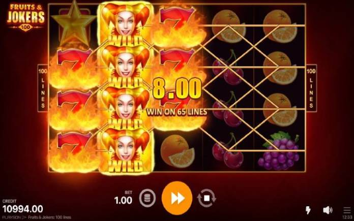 džokeri-fruits and jokers 100 lines-playson