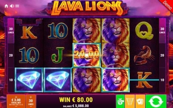 Lava Lions-online casino bonus-lav-složeni simboli-dobitna kombinacija-džoker