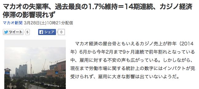 マカオの失業率、過去最良の1_7_維持=14期連続、カジノ経済停滞の影響現れず_(マカオ新聞)_-_Yahoo_ニュース
