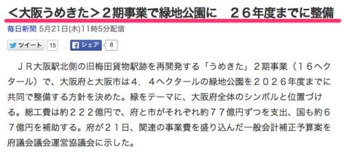 大阪うめきた2期事業で緑地公園に26年度毎日新聞