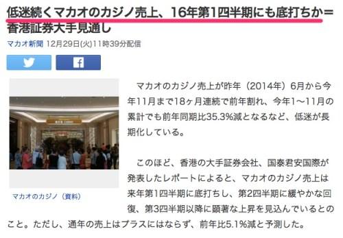 低迷続くマカオのカジノ売上、16年第1四半期にも底打ちか=香港証券大手見通し_(マカオ新聞)_-_Yahoo_ニュース