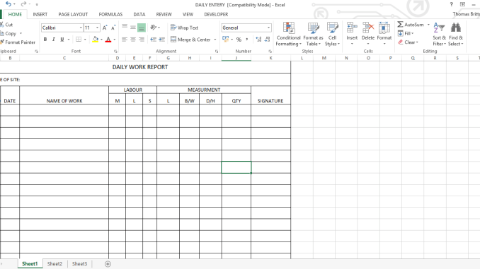 Daily Work Report Excel Sheet - Online Civil