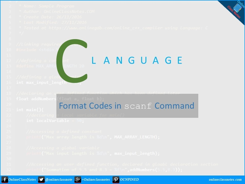 What are the commonly used scanf format codes in C