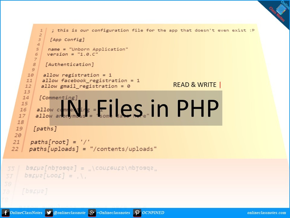how to read and write ini files in php