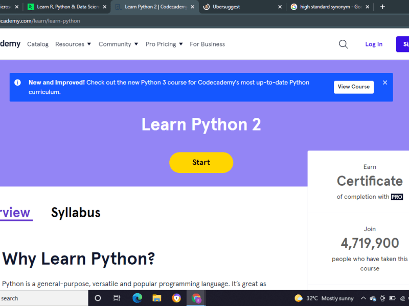 Learn Python like a professional (online courses and tutorial)