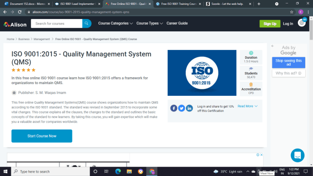 Alison: ISO 9001: 2015 Quality Management System