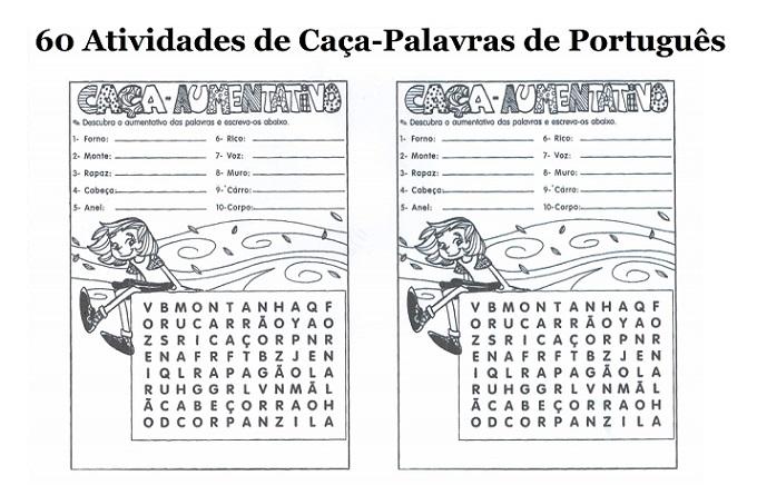60 Atividades De Caca Palavras De Portugues Para Imprimir Online