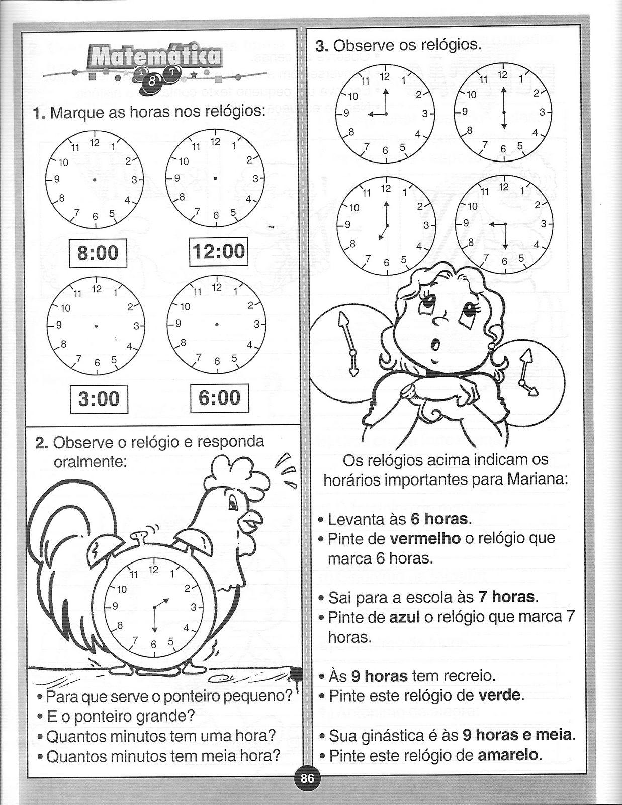 40 Atividades Com Horas E Minutos Para Imprimir Online Cursos