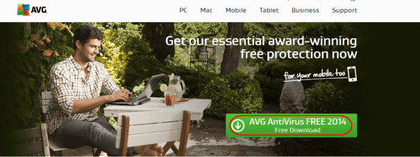 Download AVG Antivirus home page