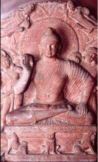 The Buddha, Kushana period, 2nd century A.D., Katra mound, Mathura region (Government Museum, Mathura).