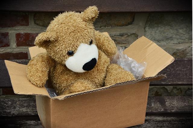 A teddy bear in the box.