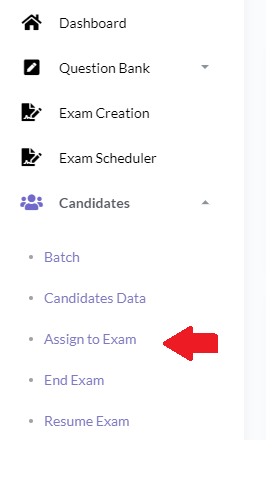 Assign Online Exam to Candidate