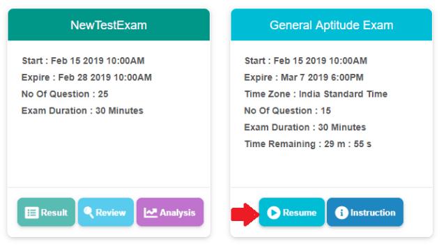 Resume Online Exam
