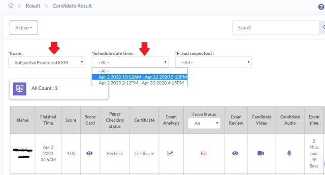 online Exam Scheduling Selection