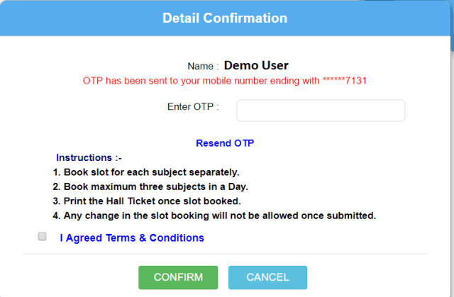 Online Exam Slot Booking to select online exam schedule