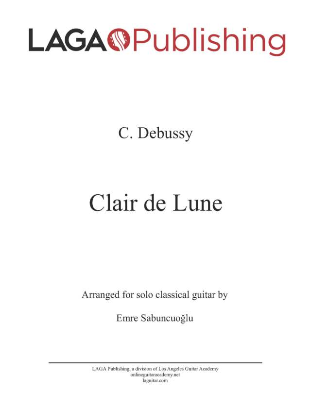 Piano free piano sheet music clair de lune : Clair de Lune, from Suite Bergamasque by C. Debussy — LAGA Online
