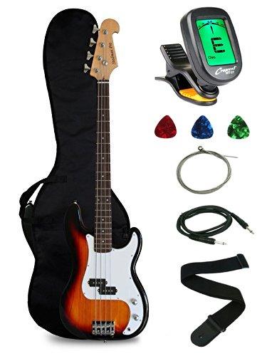 41THymo53UL - Crescent Electric Bass Guitar Starter Kit - Sunburst Color (Includes CrescentTM Digital E-Tuner)